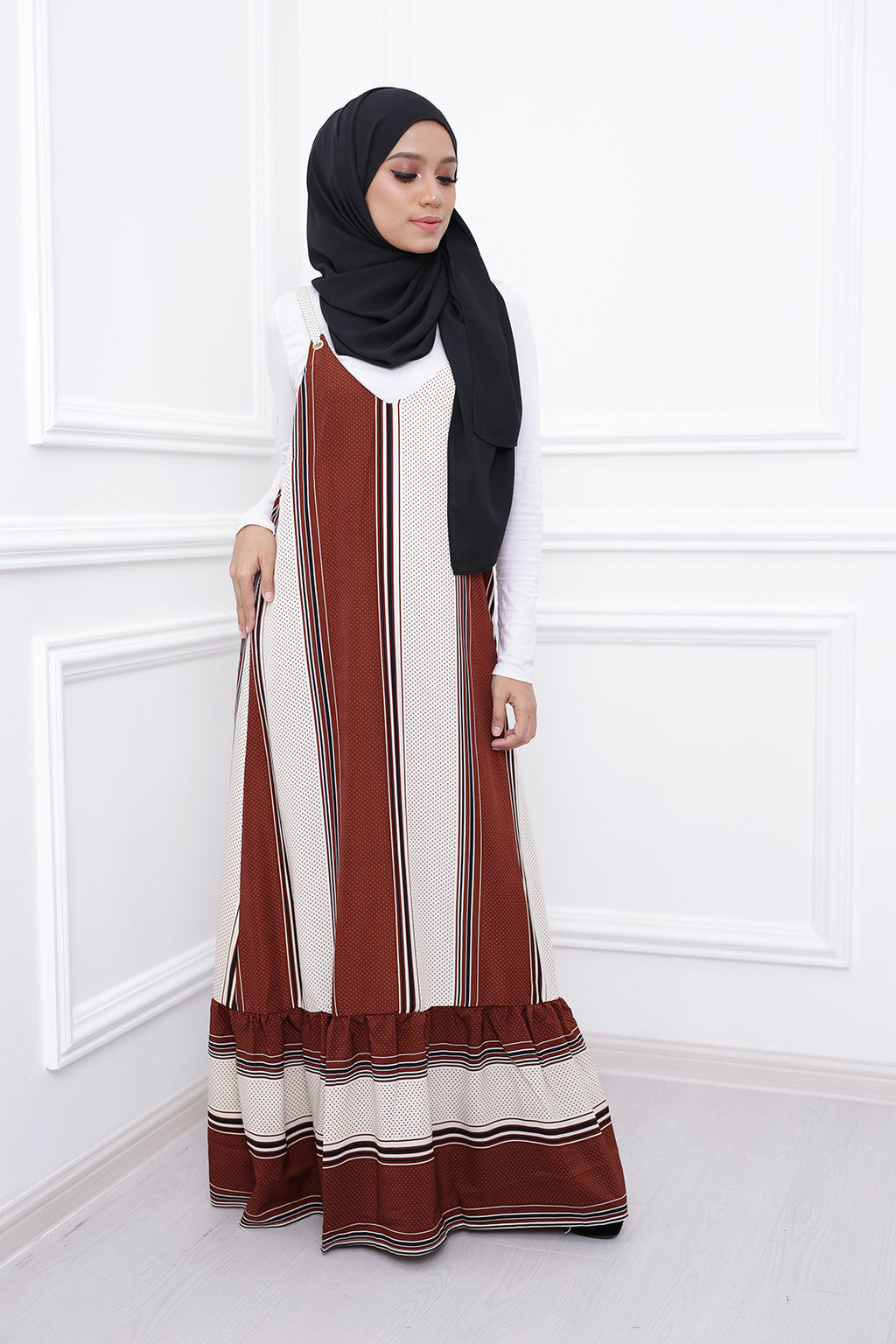 Stripe Spaghetti Dress (Chocolate)