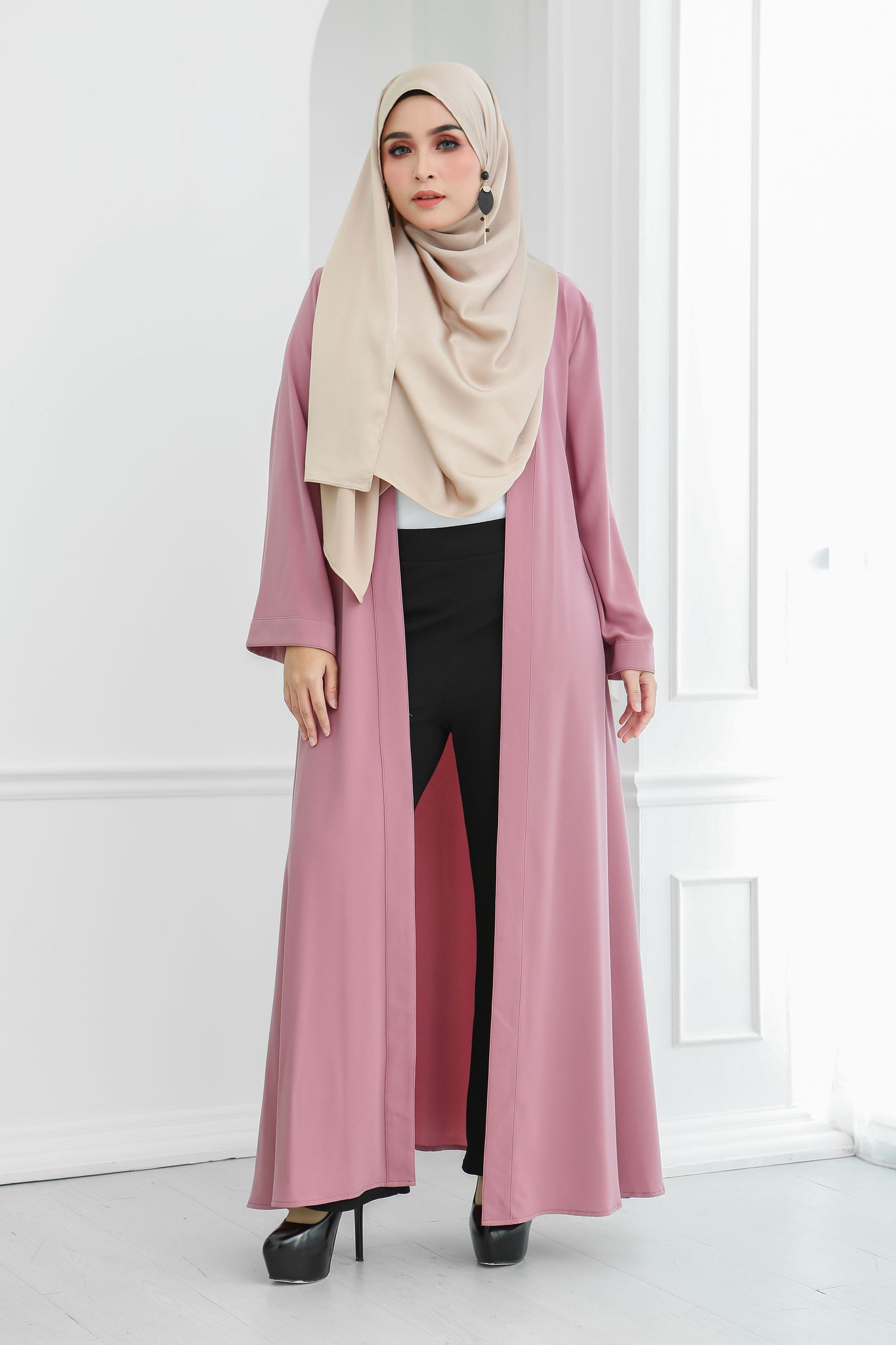 Long Wide Sleeves Cardi (Rosy Pink)