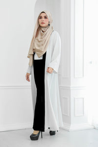 Stripe Long Cardi (White)