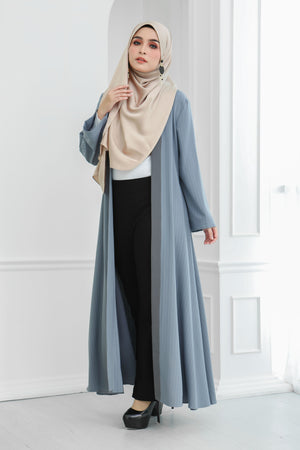 Stripe Long Cardi (Bluish Grey)