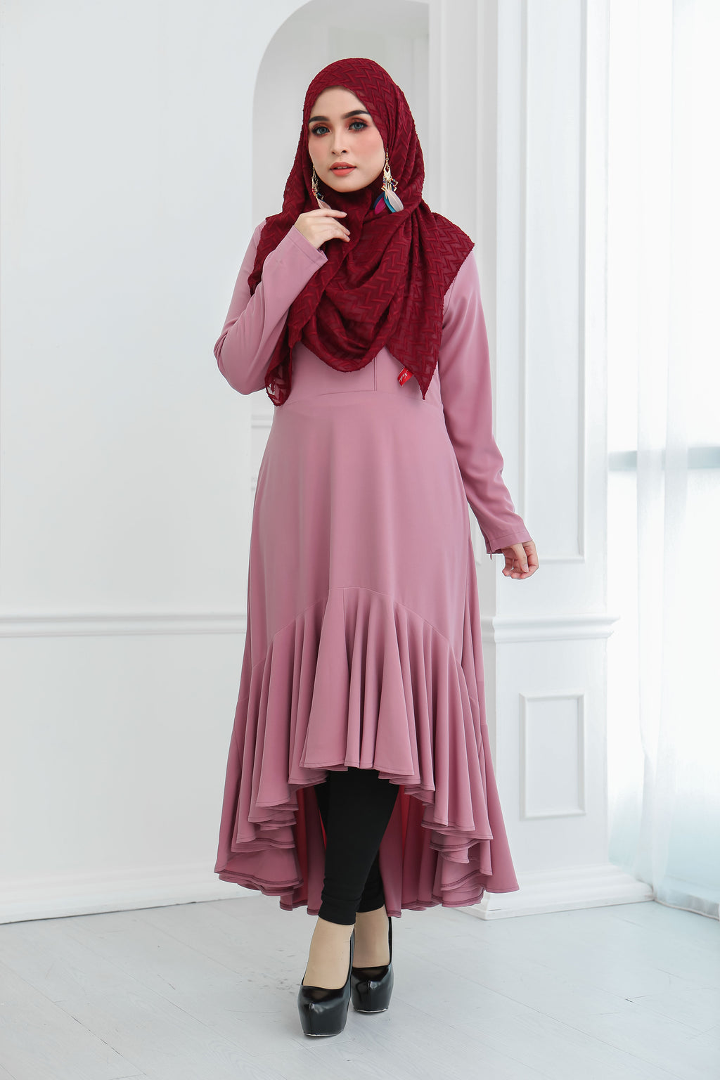 Ruffle Hem Dress (Rosy Pink)