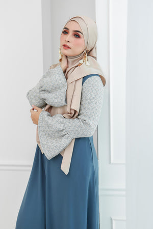 Tweed Ruffle Sleeves Dress (Bluish Grey)