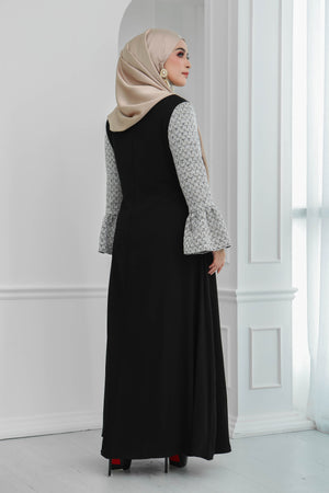 Tweed Ruffle Sleeves Dress (Black)