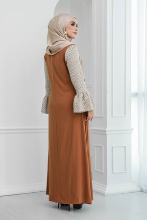 Tweed Ruffle Sleeves Dress (Chestnut Brown)