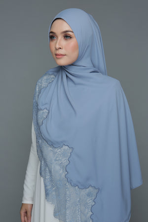 Powdered Chiffon Lace Denim Blue (Length)