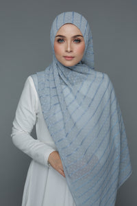 Textured Embroidery Shawl (Ash Blue)