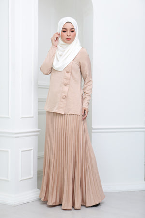 Satin Pleated Co Ord (Nude)