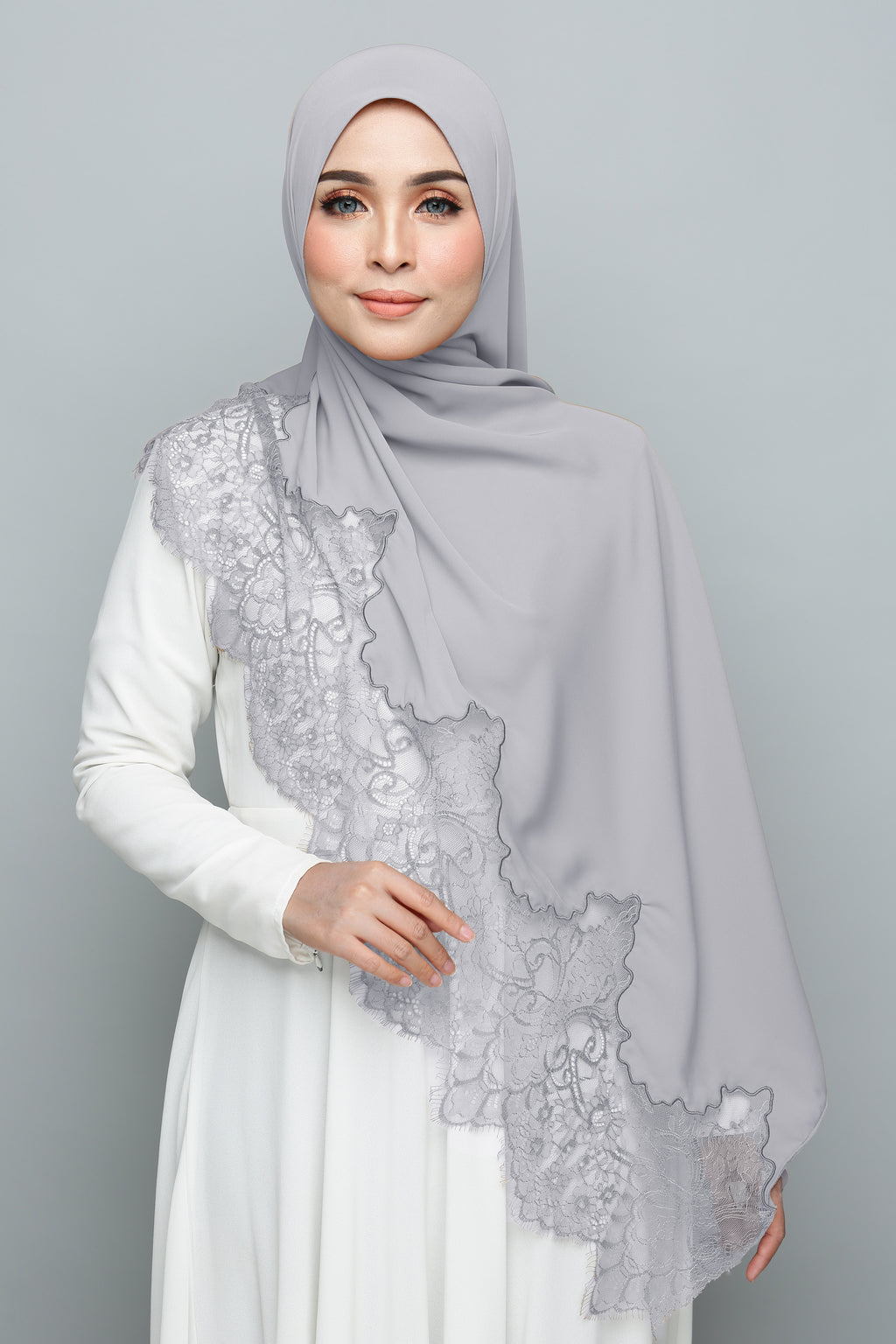 Powdered Chiffon Lace Smoke And Mirror (Length)