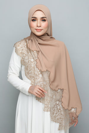 Powdered Chiffon Lace Toffee Nut  (Length)