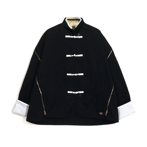 Mandarin Button Zip Jacket Black