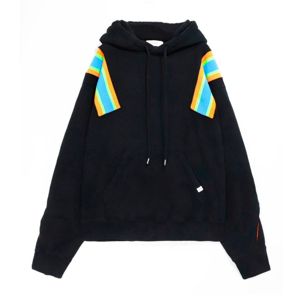 Ribbed Oversize Hoodie Black/Blue