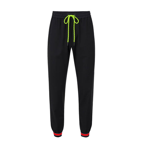 Black Iceberg jogging pants with logo and ankle stripes