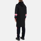 Black wool coat with nylon sleeves and Iceberg contrast bands