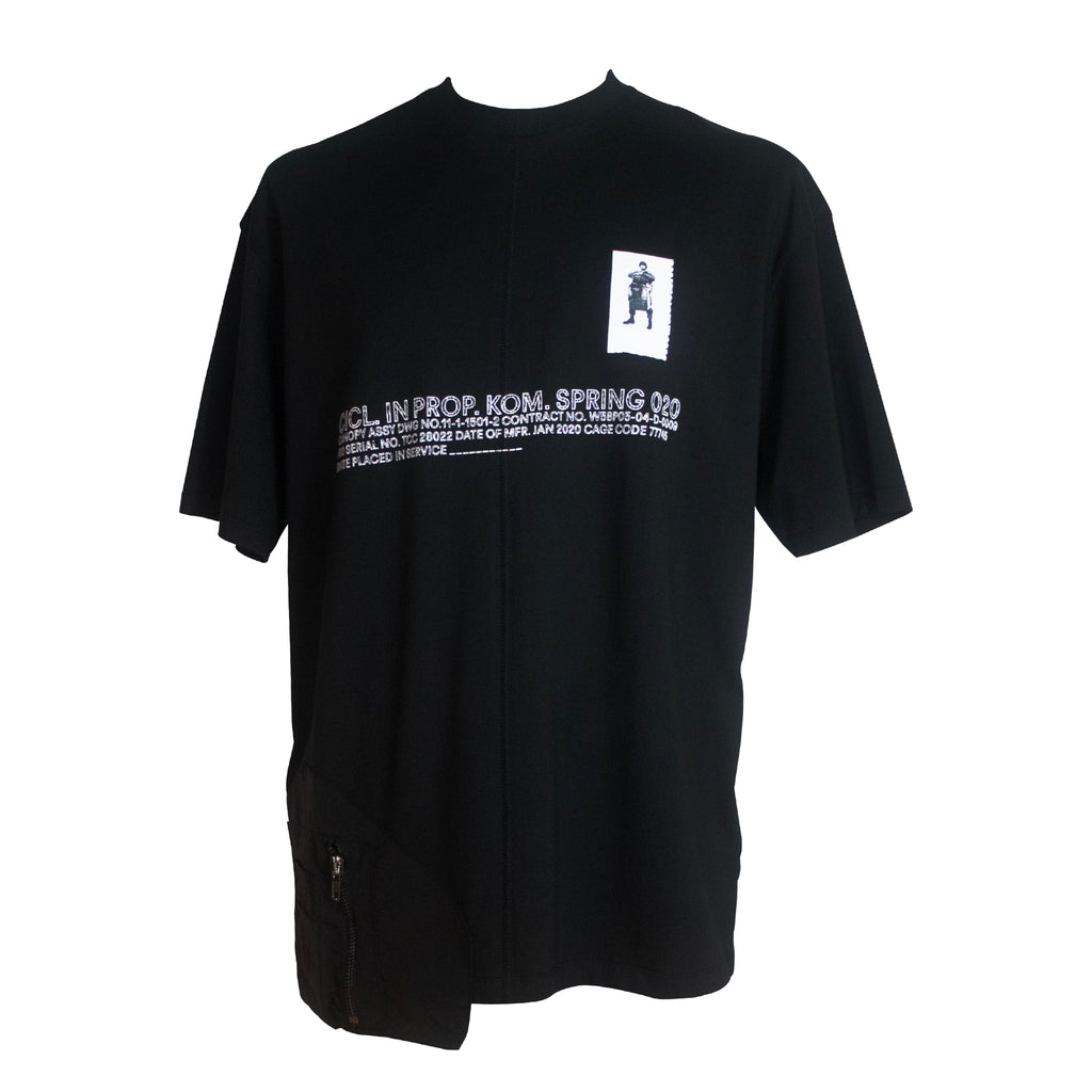 Black Loose T-shirt with Pocket