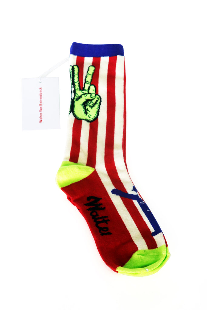 W PEACE SOCKS RED