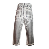 Cargo Collapse Cropped Cut Denim Pants