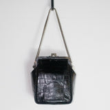 Black Croc Mini Square Pocket Bag
