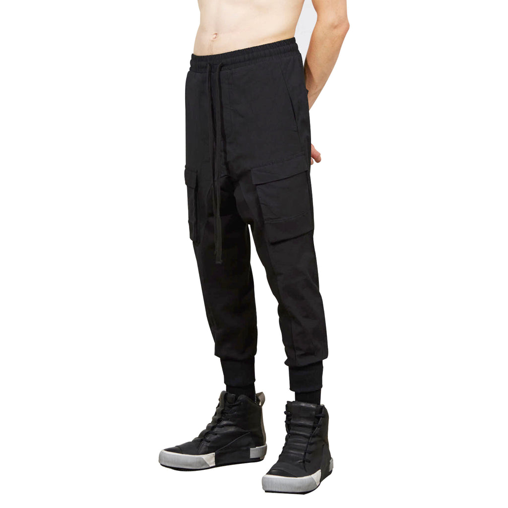 Ribbed Cuffs Drop-Crotch Trousers
