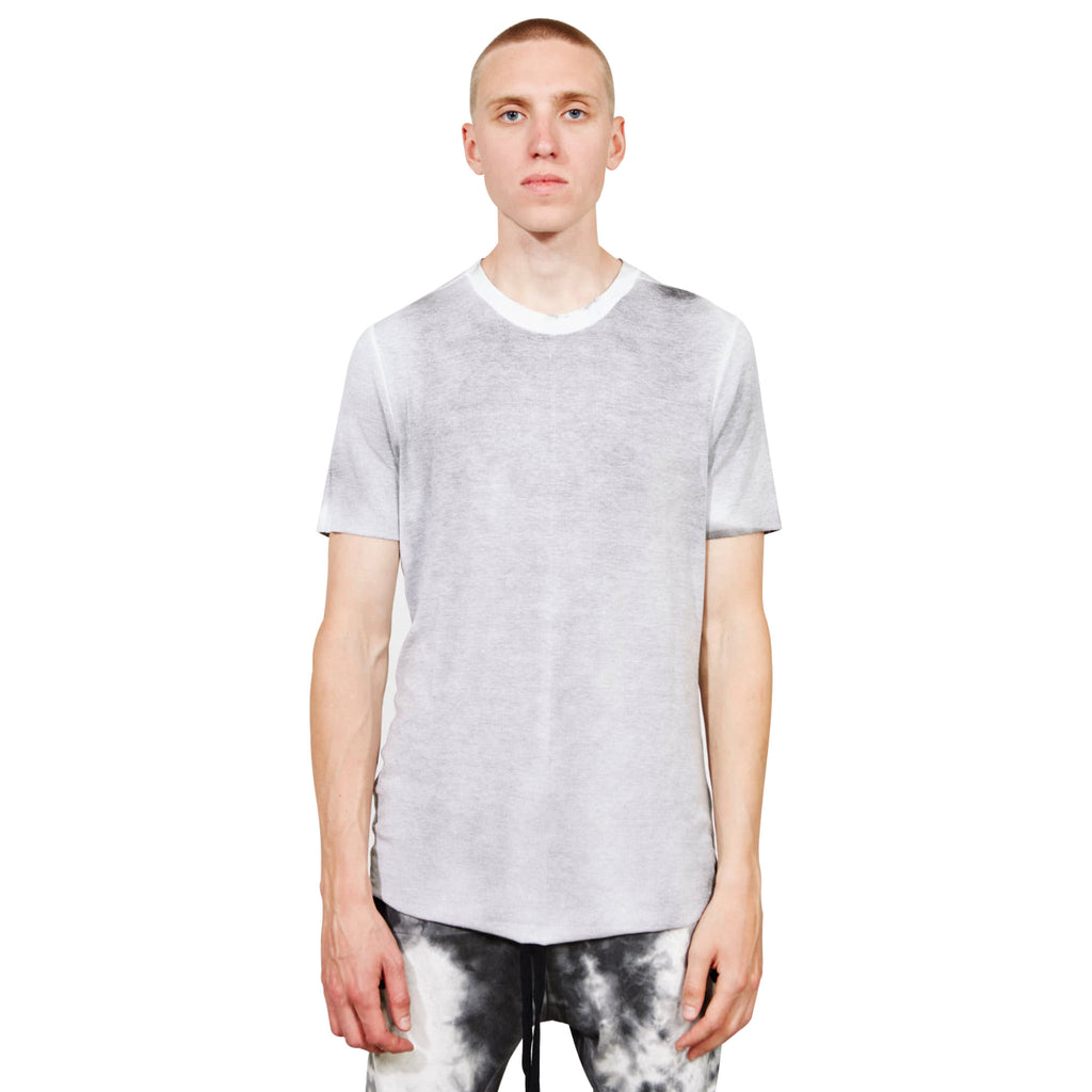 Scar Stitching Round Neck Slim White T-shirt