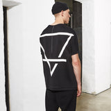 GEOMETRIC LINES BACK T-SHIRT  BLACK