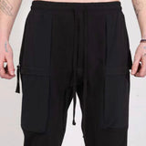 CONTRAST POCKET PANTS BLACK