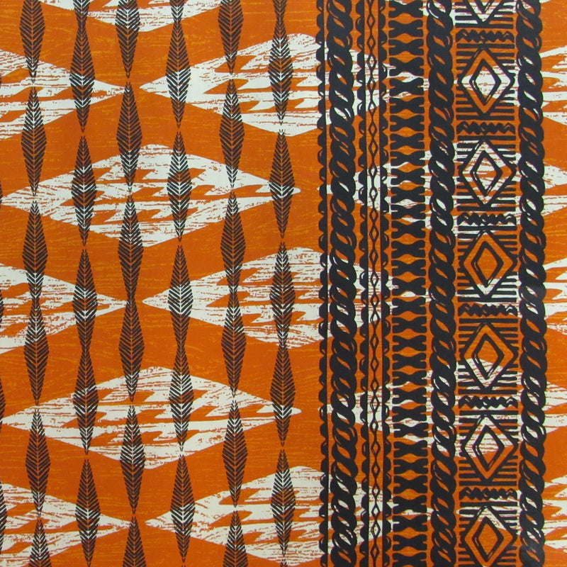 Single Border in Black Tribal Print | Rayon Fabric