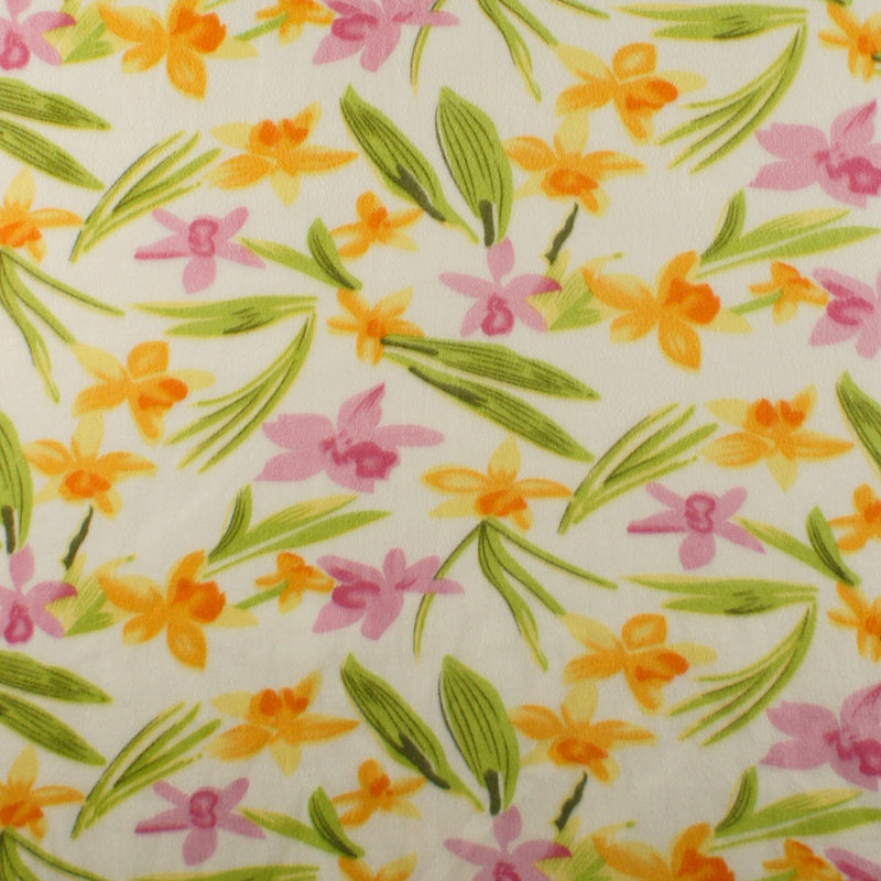 Hawaiian Orchid Garden White | Fleece Fabric
