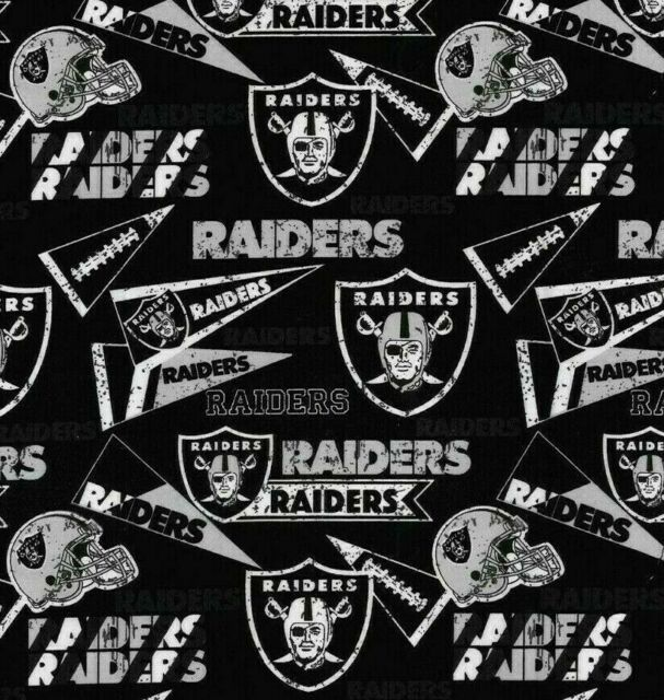 NFL Las Vegas Raiders Black Cotton Fabric