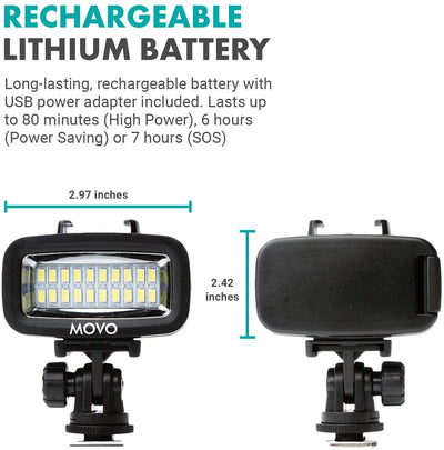 Movo LED-WP Underwater High-Power Rechargeable LED Video Light Mounts Shoe Mount and Action Camera Mount