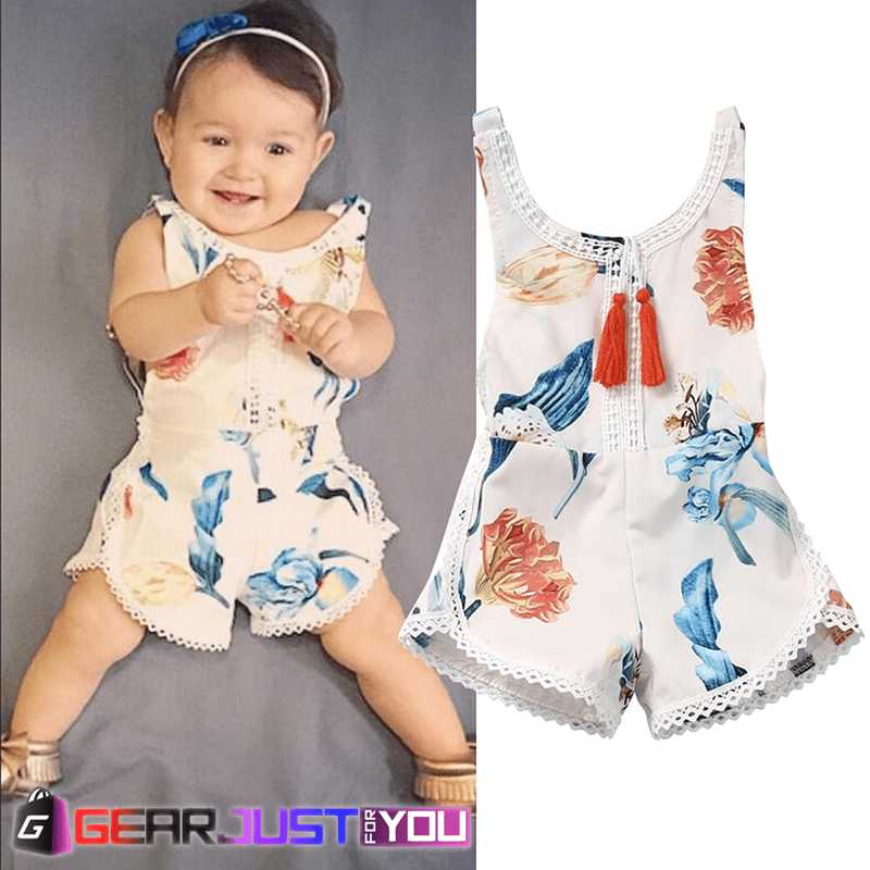Cute Floral Sleeveless Newborn Baby Girl s Pure Cotton Summer Romper Outfits 56d039836ed4