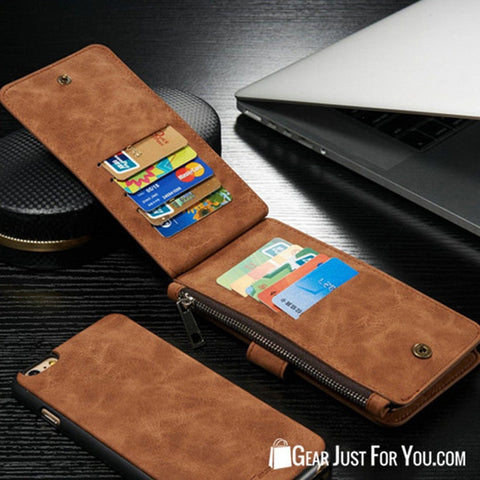 Smart Design Genuine Multifunction Leather Zipper Wallet Card Case Cover For Apple iPhone - Gear Just For You.com