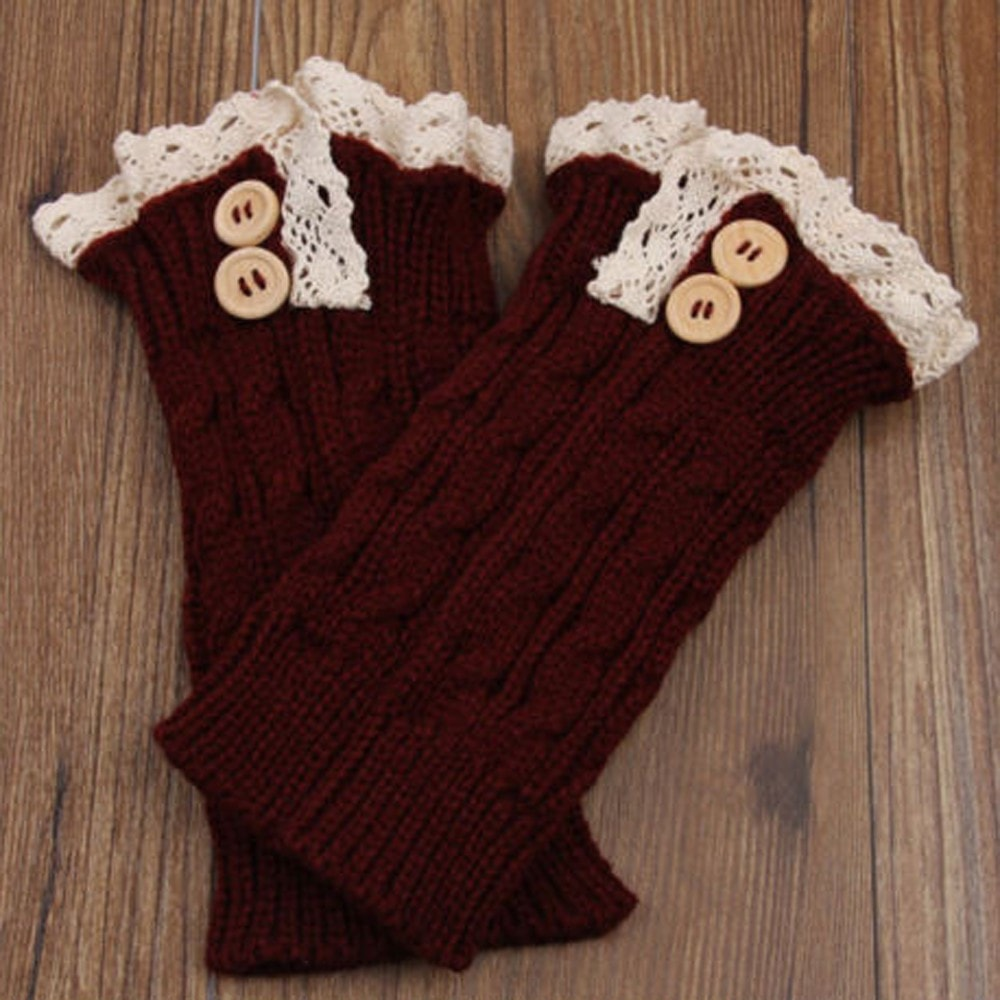 Women Girl Crochet Knitted Lace Trim Boot Cuffs Toppers Leg Warmers Winter Socks - Gear Just For You.com
