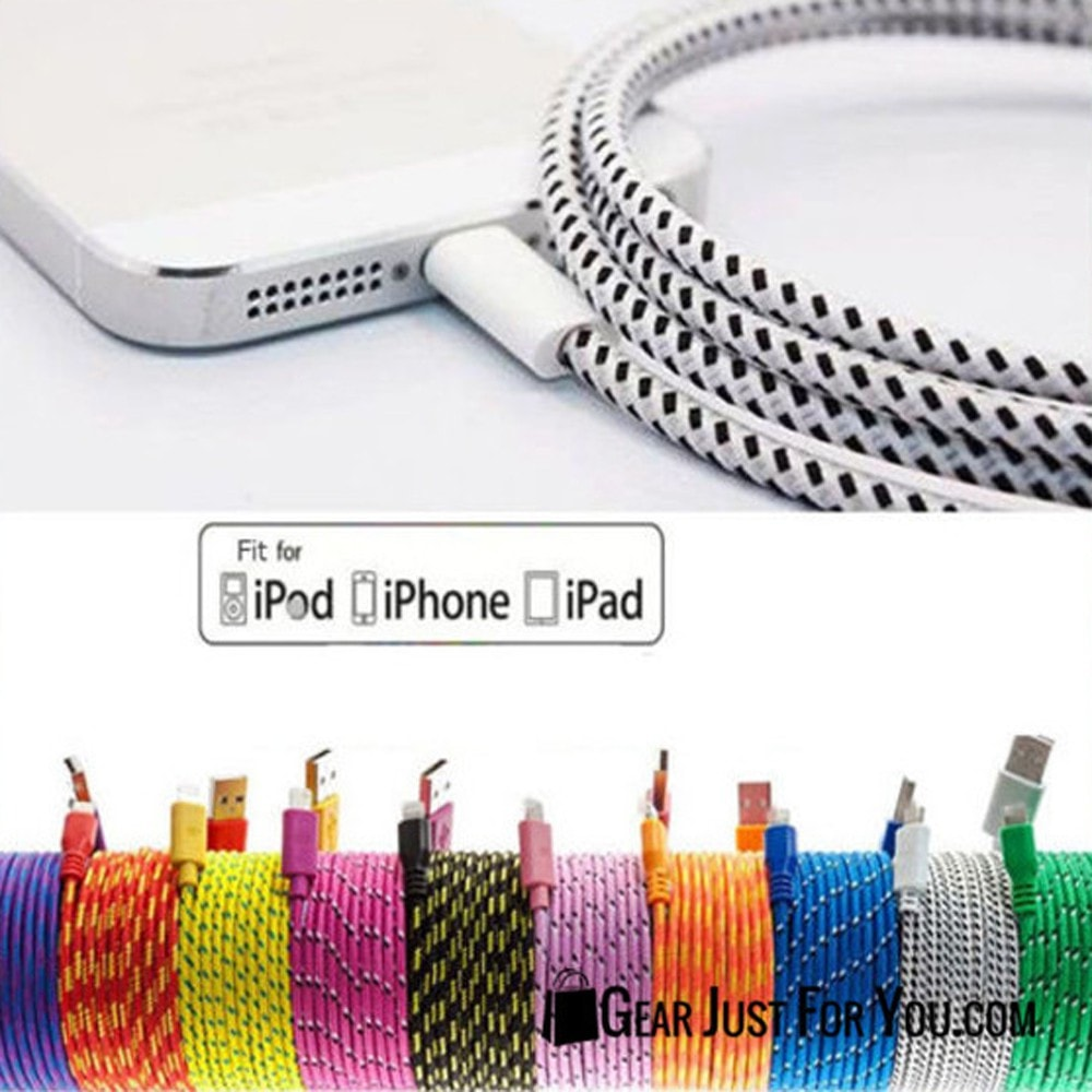 LOT BRAIDED LIGHTNING USB Charger Data Cable for iPhone 6/6S Plus/5/5S/5c - Gear Just For You.com