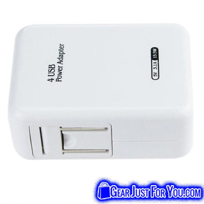 4 Port USB Portable Home Travel 3.1A AC Charger Power Adapter - Gear Just For You.com