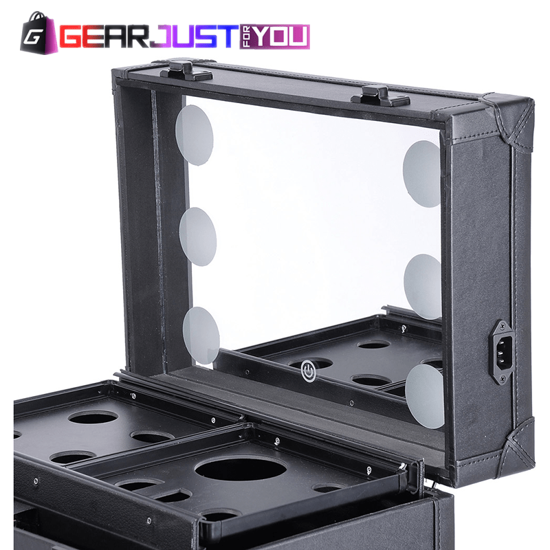 Exclusive Multi-functional Extendable Tray LED Mirror Attached Rolling Makeup Case
