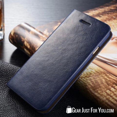 Real Leather Wallet Card Holder Flip Case Cover for iPhone & Samsung - Gear Just For You.com