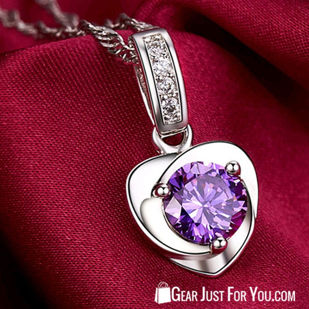 Natural Amethyst And Pendants Heart Women Pure Silver Necklace Jewelry Design - Gear Just For You.com