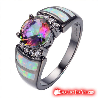 New Vintage Big Rainbow Opal 10KT Black Gold Filled Ring For Women - Gear Just For You.com