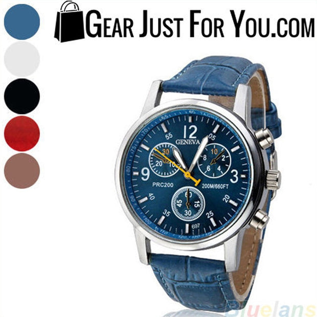 Mens Womens Fashion Faux Leather Band Quartz Analog Dress Bracelet Wrist Watch - Gear Just For You.com