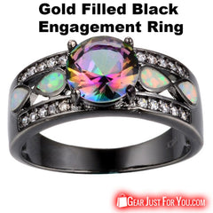 10KT Rainbow Color Opal Gold Filled Black Engagement Ring For Women