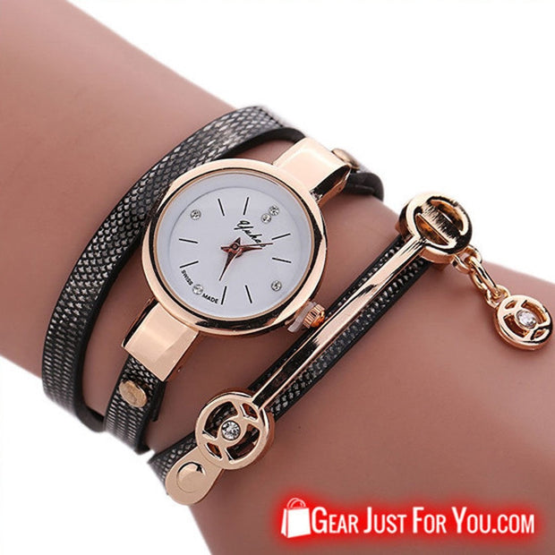 New Black Leather Stainless Steel Bracelet Wrist Watch For Women - Gear Just For You.com