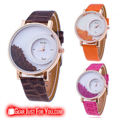 Crystal Leather Analog Dial Quartz Wrist Watch For Men & Women - Gear Just For You.com