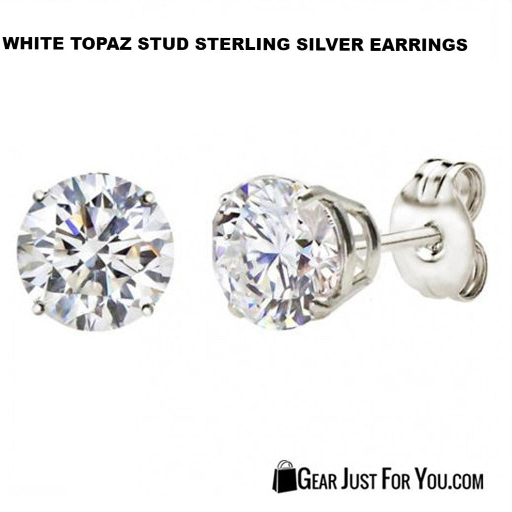 topaz gold in round white stud earrings