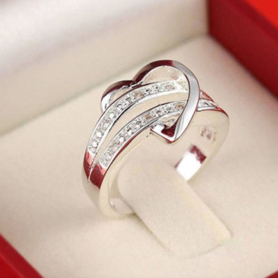 ac210e7f69 Beautiful 925 Sterling Silver Heart Wedding Ring Rhinestone US Sizes 7/8/9 -