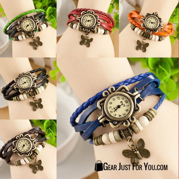 Butterfly Bracelet Faux Leather Quartz Wrist Watch For Women - Gear Just For You.com