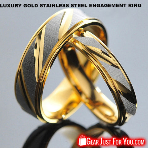 Image of 18K Plated Luxury Gold Stainless Steel Engagement Ring For Couple - Gear Just For You.com
