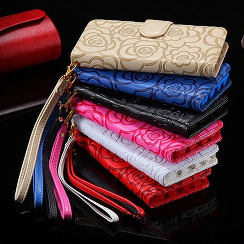 Image of Luxury Rose Magnetic Wallet Leather Case Flip Card Slot for iPhone - Gear Just For You.com