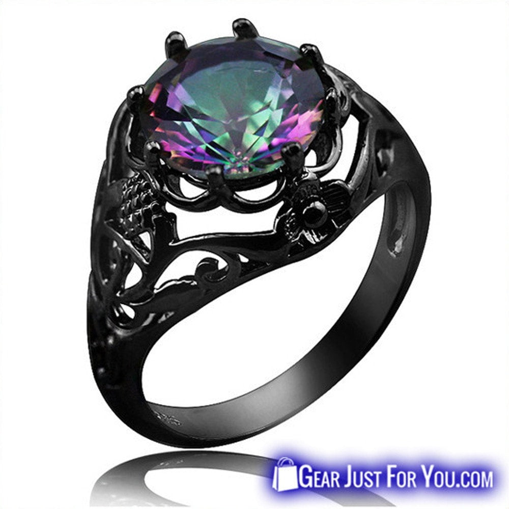 Vintage Black Crystal Pattern Rainbow Fire Topaz Ring For Women - Gear Just For You.com