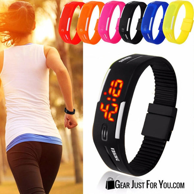 Digital Silicone Rubber LED Waterproof Bracelet Wrist Watch For Mens & Womens - Gear Just For You.com