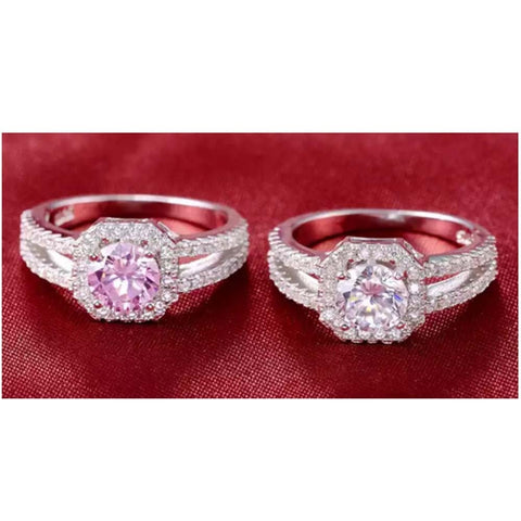All New Diamond Ring with 925 Sterling Silver - Sapphire Blue - Pink - Crystal - Gear Just For You.com